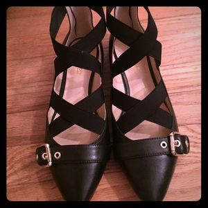 Nine West black pointed toe flats. Worn once!